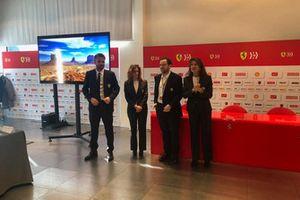 Silvia Hoffer Frangipane avant la présentation Ferrari