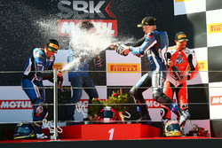 Podium: race winner Lucas Mahias, GRT Yamaha Official WorldSSP Team, second place Sheridan Morais, Kallio Racing, third place P.J. Jacobsen, MV Agusta