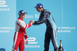 Felix Rosenqvist, Mahindra Racing, and Sébastien Buemi, Renault e.Dams, on the podium