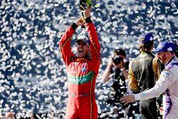 Sébastien Buemi, Renault e.Dams, sprays the champagne after winning the race
