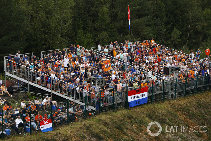 A stand containing a large contingent of Dutch Max Verstappen, Red Bull Racing, fans
