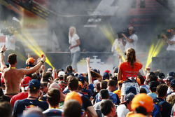 A party atmosphere builds around the stage in the F1 Fanzone
