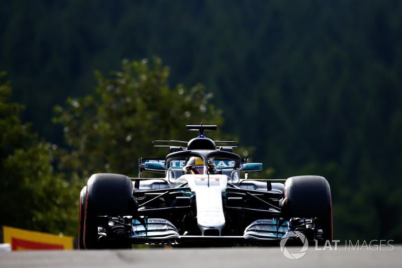 Lewis Hamilton, Mercedes AMG F1 W08, avec le Halo