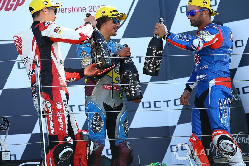 Podio: il vincitore della gara Takaaki Nakagami, Idemitsu Honda Team Asia, il secondo classificato Mattia Pasini, Italtrans Racing Team, il terzo classificato Franco Morbidelli, Marc VDS
