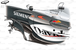 McLaren MP4-19 2004 sidepod and bargeboard detail