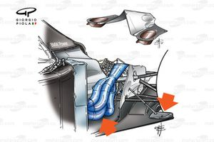 Williams FW23 2001 periscope exhausts exploded view