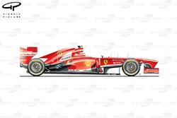 Vue latérale de la Ferrari F138, Italie