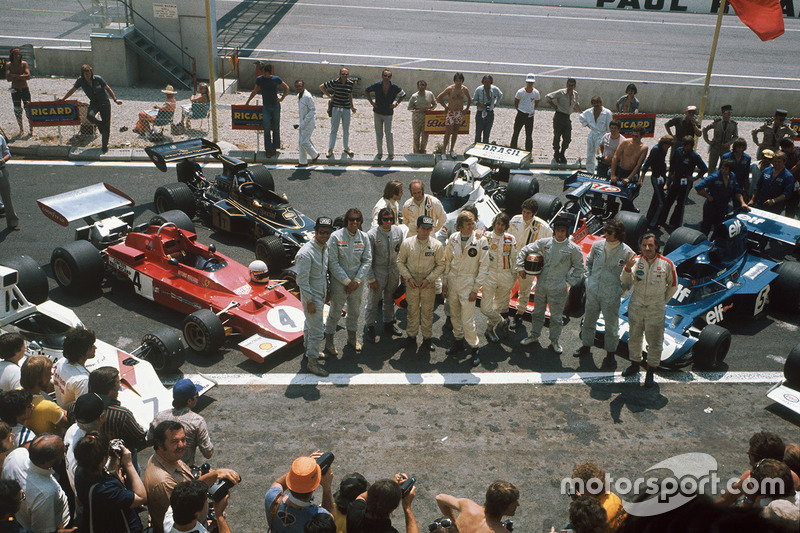 Graham Hill, George Follmer, Wilson Fittipaldi, Emerson Fittipaldi, Carlos Reutemann, Denny Hulme, Jackie Oliver, Ronnie Peterson, Arturo Merzario, Jody Scheckter, Jackie Stewart y François Cevert