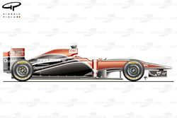 Marussia Virgin MVR-02 side view,