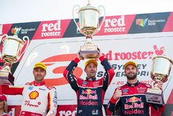 Podium: race winner Jamie Whincup, Triple Eight Race Engineering Holden, second place Fabian Coulthard, Team Penske Ford, third place Shane van Gisbergen, Triple Eight Race Engineering Holden