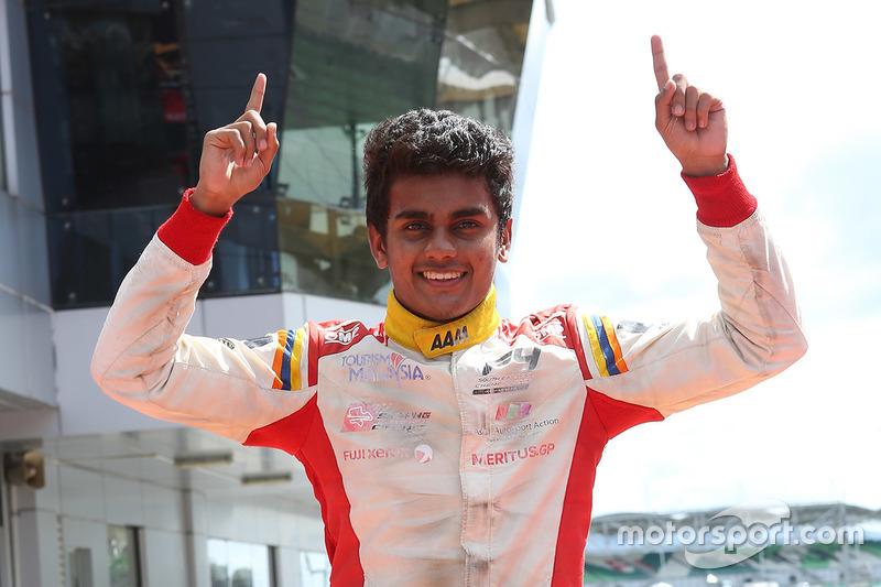 Race winner Akash Gowda