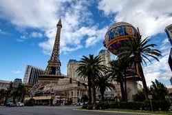 Las Vegas Strip atmosphere, including replica Eiffel Tower and balloon at the Paris Las Vegas hotel