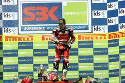 Podium: winnaar Noriyuki Haga, Yamaha