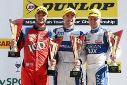 Podium: race winner James Cole, Team BMR Subaru Levorg, second place Ashley Sutton, Team BMR Subaru Levorg, third place Jack Goff, Team IHG Rewards Club