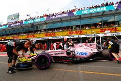 Sergio Perez, Force India VJM10, is returned to the garage
