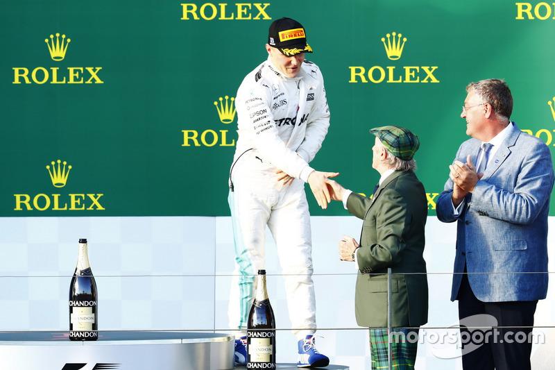 Valtteri Bottas, Mercedes AMG F1; Jackie Stewart