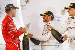 Podium: race winner Sebastian Vettel, Ferrari, second place Lewis Hamilton, Mercedes AMG F1, third p