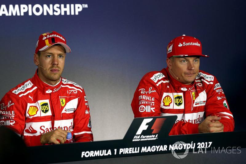 Прес-конференція: володар поул-позиції Себастьян Феттель, Ferrari, друге місце Кімі Райкконен, Ferrari