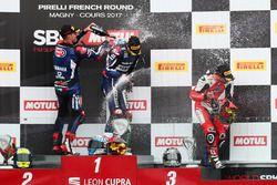 Podium: winner Niki Tuuli, Kallio Racing Yamaha, second place Federico Caricasulo, GRT Yamaha Official WorldSSP Team, third place P.J. Jacobsen, MV Agusta