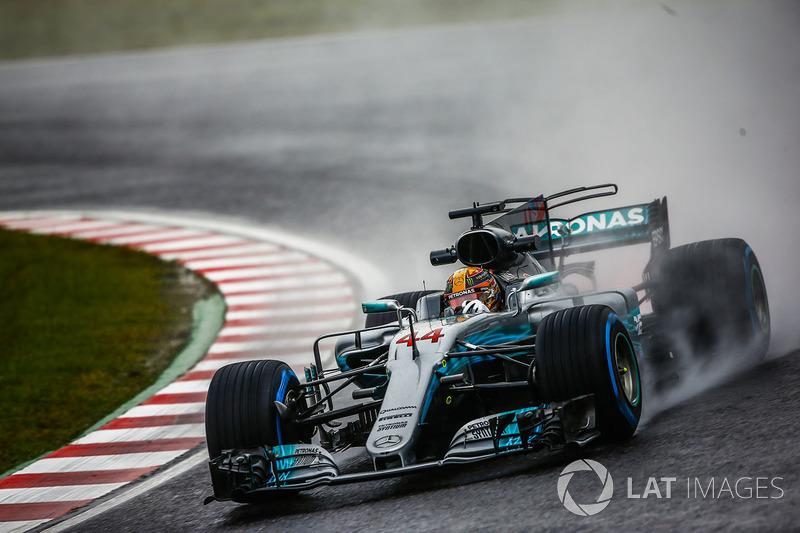 Lewis Hamilton au volant de la Mercedes W08