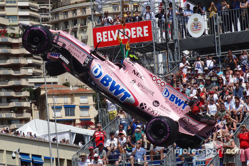 Car of Esteban Ocon, Force India VJM10 after his crash