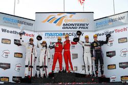 GTD podium: winners Alessandro Balzan, Christina Nielsen, Scuderia Corsa, second place Andy Lally, K