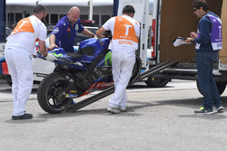 La moto de Maverick Viñales, Yamaha Factory Racing après sa chute