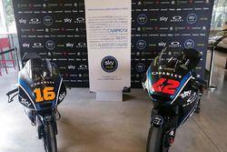 The Moto3 bike of Andrea Migno and Moto2 bike of Francesco Bagnaia