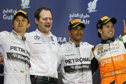 Podio: Nico Rosberg, Mercedes AMG F1, Aldo Costa, Mercedes AMG F1, ganador de la carrera Lewis Hamil