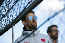 Romain Grosjean, Haas F1 Team, watches the action from trackside