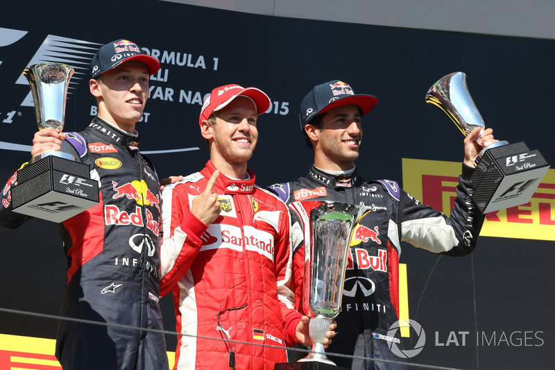 14- GP de Hungría 2015 (25 años, 1 mes y 16 días): 3ºDaniil Kvyat, 2º Daniel Ricciardo, 3º Sebastian Vettel