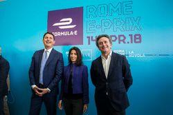 Roberto Diacetti, EUR S.p.A Chairman, Virginia Raggi, Mayor of Rome, Alejandro Agag, Formula E CEO,