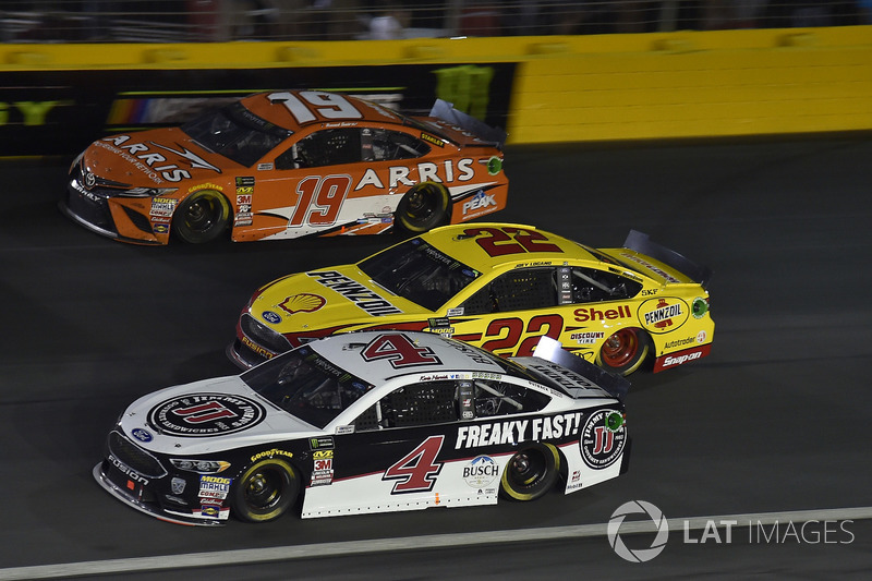 Kevin Harvick, Stewart-Haas Racing, Ford Fusion Jimmy John's, Daniel Suarez, Joe Gibbs Racing, Toyota Camry ARRIS, Joey Logano, Team Penske, Ford Fusion Shell Pennzoil