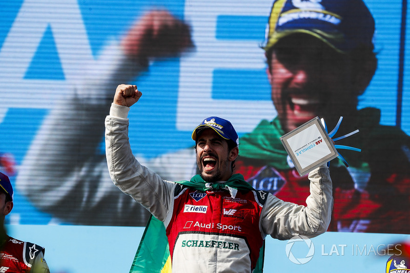 Lucas di Grassi, Audi Sport ABT Schaeffler, celebrates on the podium