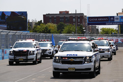 New York Police vehicles on track