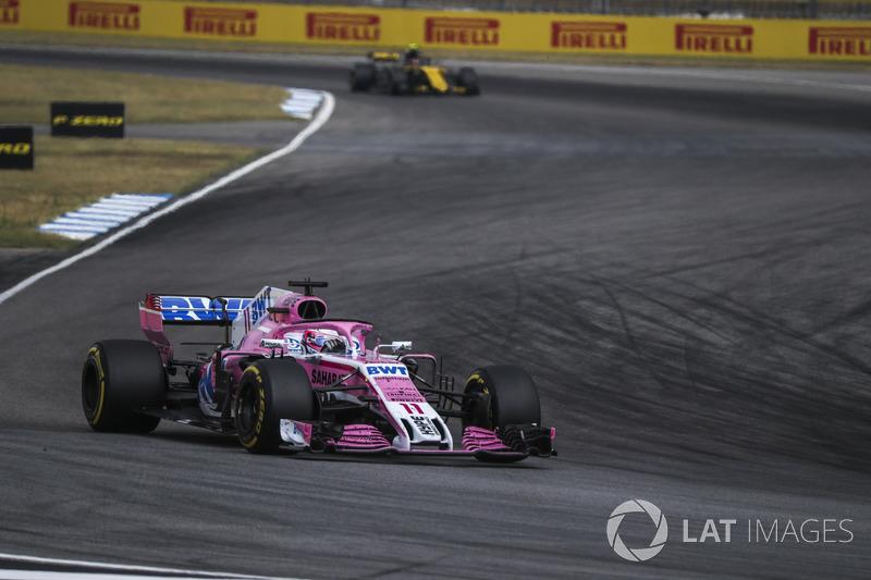 Пилоты Force India вдвоем финишируют в десятке третий раз подряд. В Германии Серхио Перес стал седьмым, а Эстебан Окон – восьмым