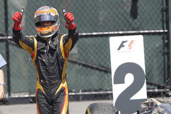 Romain Grosjean, Lotus GP, in Parc Ferme