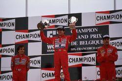 Podyum: Yarış galibi Ayrton Senna, 2. Alain Prost, 3. Nigel Mansell