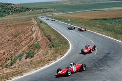 Phil Hill, Ferrari 156, leads team mate Wolfgang von Trips, Ferrari 156