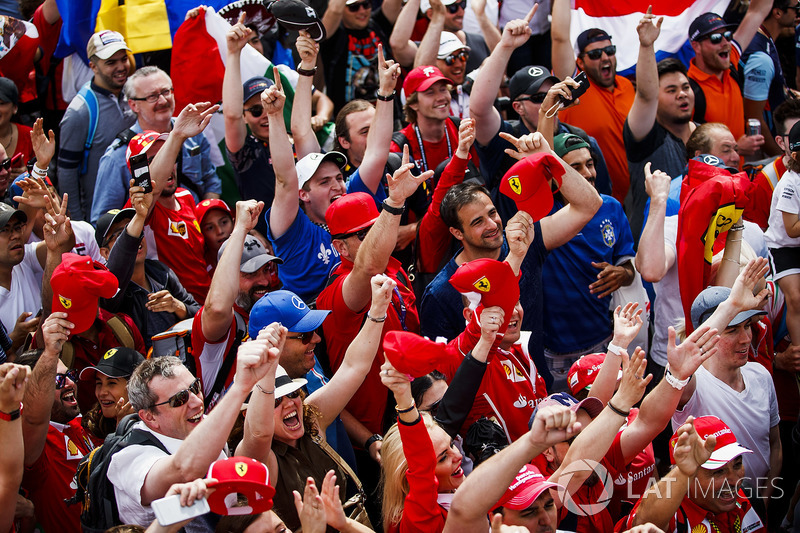 Fans raise their arms in a grandstand