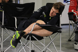 Aston Martin Racing team member sleeps