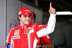 Pole sitter Felipe Massa, Ferrari celebrates in parc ferme
