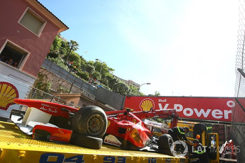 The wreckage of the car of Felipe Massa, Ferrari