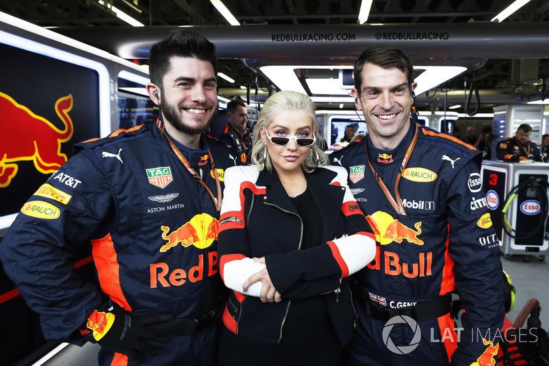 Singer Christina Aguilera visits the Red Bull garage