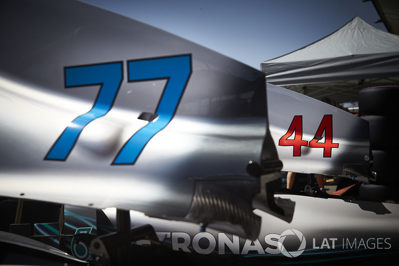 Numbers 44 and 77 on the bodywork of the Lewis Hamilton and Valtteri Bottas Mercedes AMG F1 W09 cars