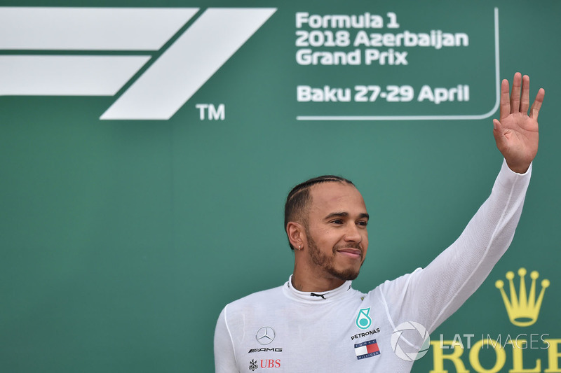 Race winner Lewis Hamilton, Mercedes-AMG F1 on the podium