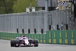 Third place Sergio Perez, Force India VJM11 takes the chequered flag