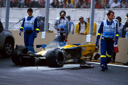 The car of Fernando Alonso, Renault F1 Team after the crash