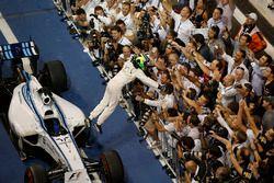 Second place Felipe Massa, Williams F1, celebrates in parc ferme