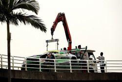The crasched car of Daniel Juncadella, Mercedes-AMG Team Driving Academy, Mercedes - AMG GT3